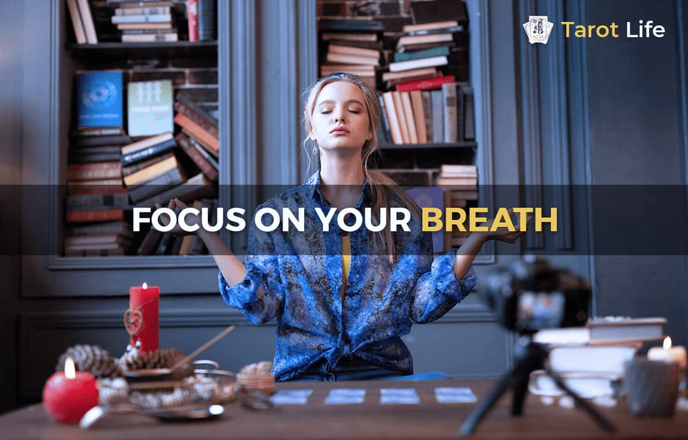 focus on your breath using tarot cards